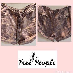 FREE PEOPLE Cotton Linen Blend TIE DYE SHORTS 12